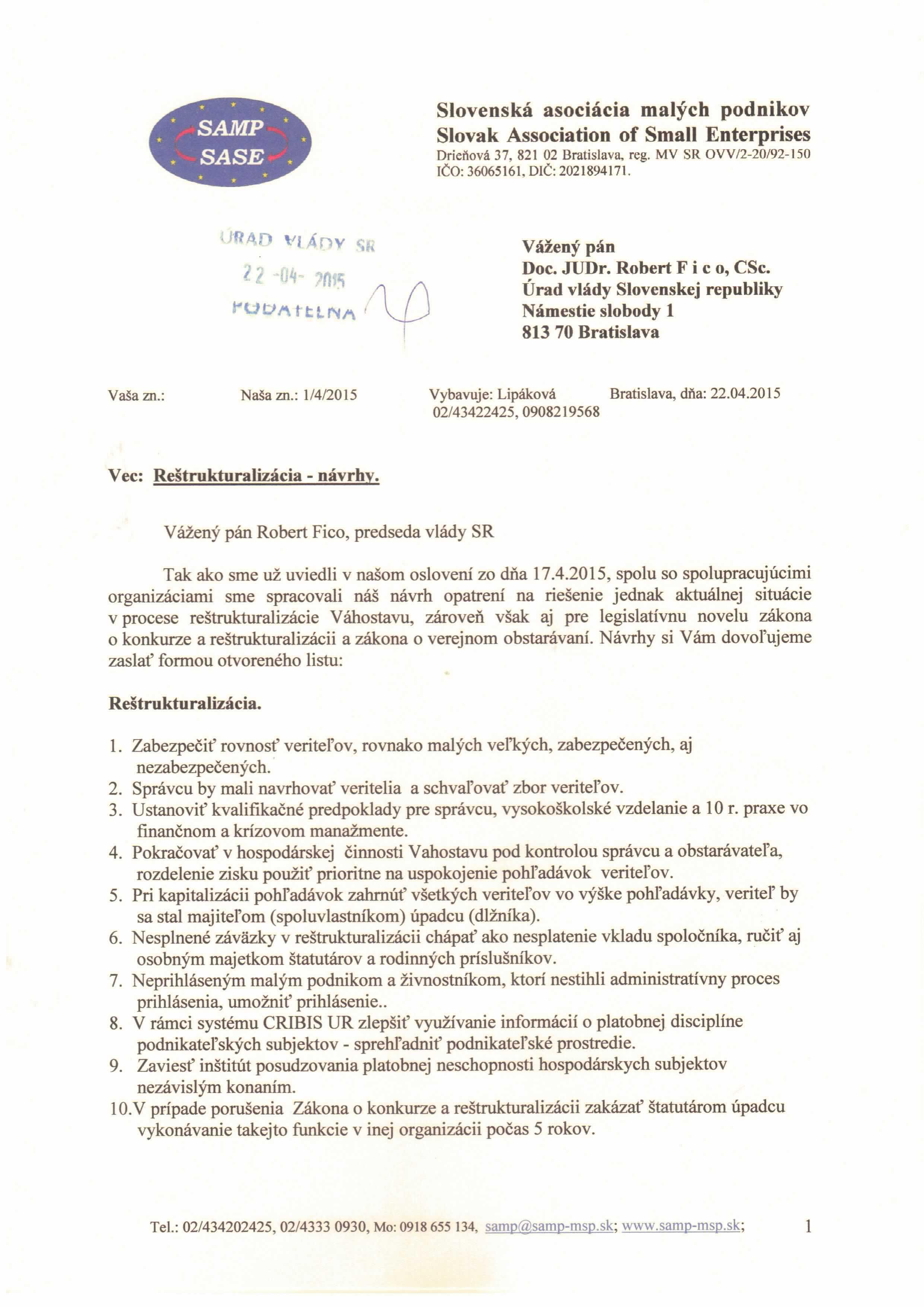 Reštrukturalizácia -návrhy
