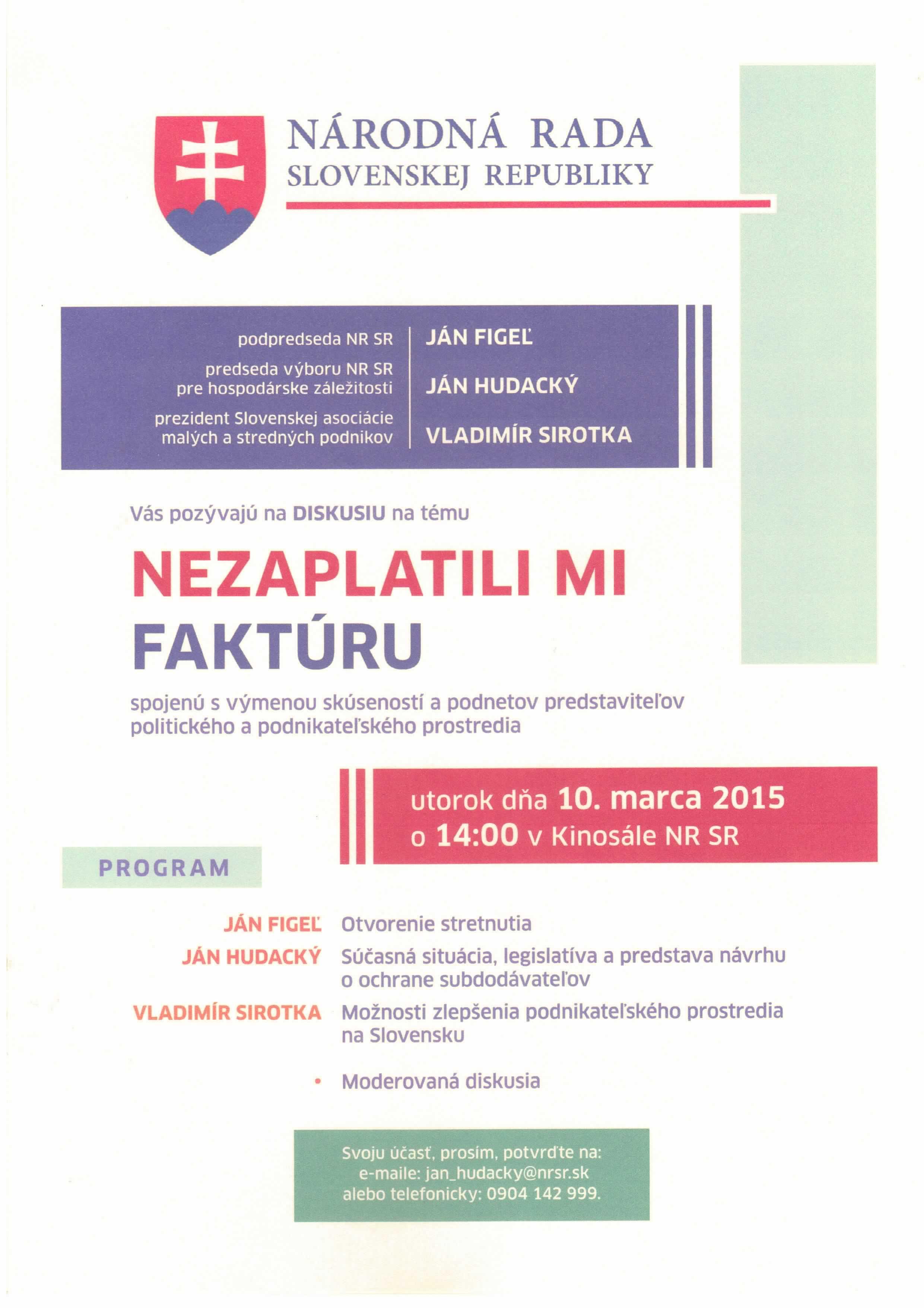 Diskusia s podnikateľmi 10.03.2015