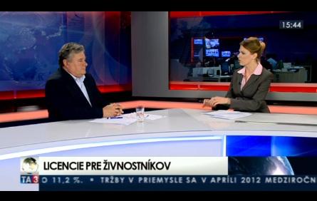 TA3 HOSŤ V ŠTÚDIU: V. Sirotka o licenciách pre živnostníkov 11.6.2012